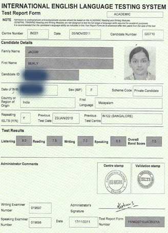Best IELTS test result November 2011