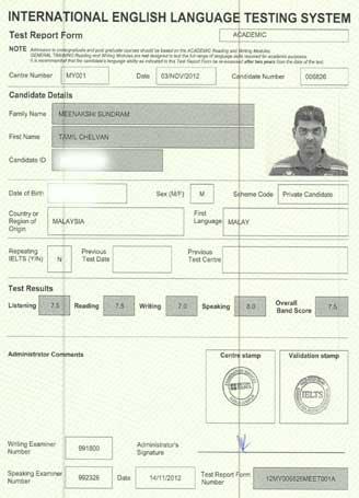 Best IELTS test result November 2012
