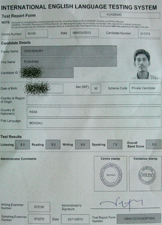 Best IELTS test result November 2013