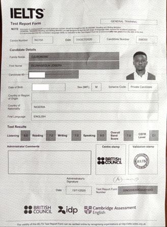 Best IELTS test result November 2020