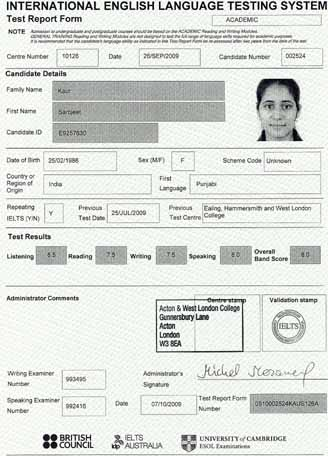 Best IELTS test result October 2009