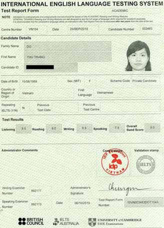 Best IELTS test result October 2010