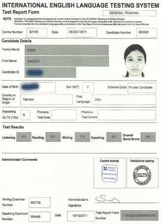 Best IELTS test result October 2011