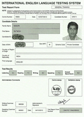 Best IELTS test result October 2013