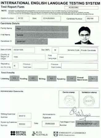 Best IELTS test result September 2009