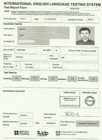Best IELTS test result September 2010