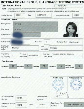 Best IELTS test result September 2011