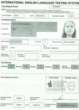 Best IELTS test result September 2012