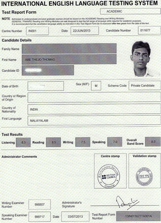 Best IELTS test result September 2013