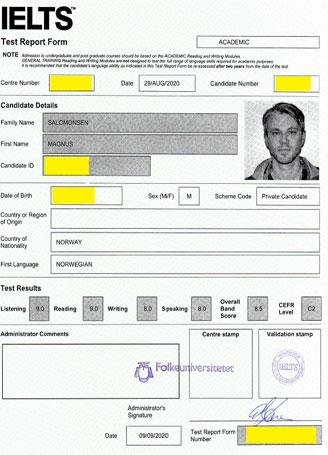 Best IELTS test result September 2020