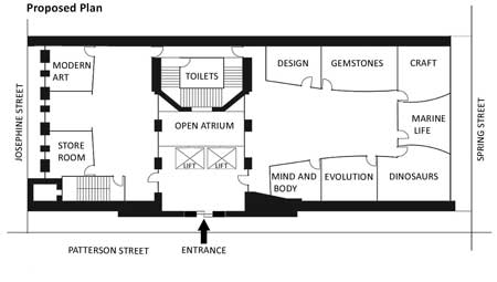 Future ground floor plan of a museum, writing task 1  from Target Band 7 book