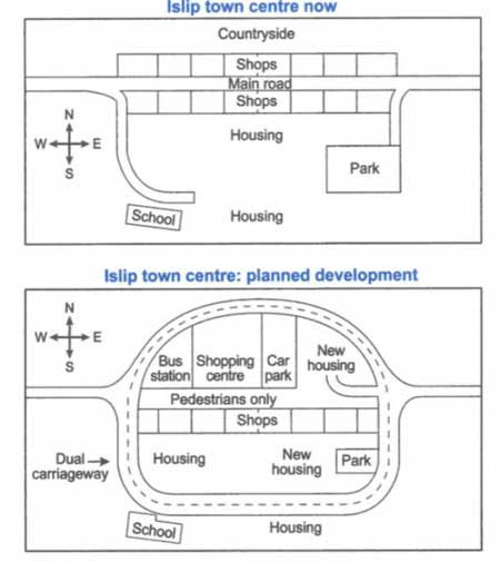 Map of a town before and after redevelopment