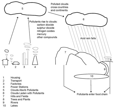 Process diagram describing the cycle of pollution (from IELTS High Scorer's Choice series, Academic Set 1 book)